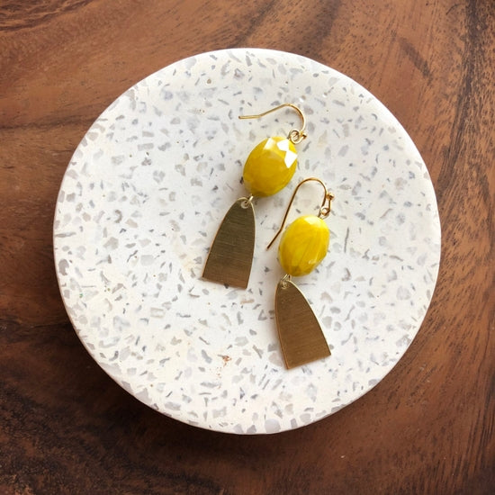 Lemon Czech Glass Earrings