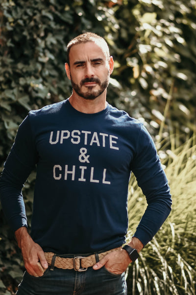 Upstate & Chill - Long Sleeve T - Navy