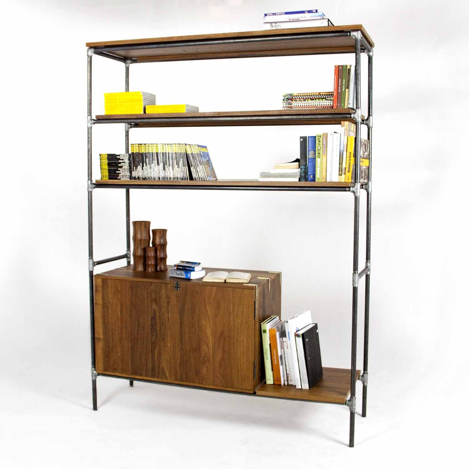 Estante Pipe Shelf Design Industrial Em Cano De A O E Madeira