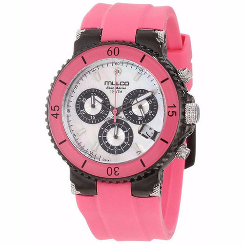 MULCO Blue Marine Mother of Pearl Dial Pink Silicone Watch MW3-70604-088