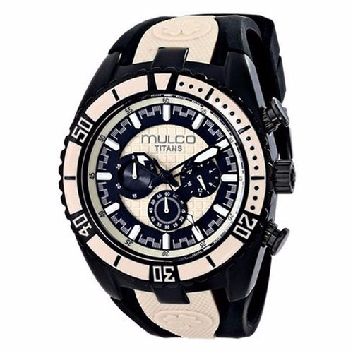 MULCO Titans Wave Chronograph Black and Beige Dial Black Silicone Unisex Watch MW5-1836-115