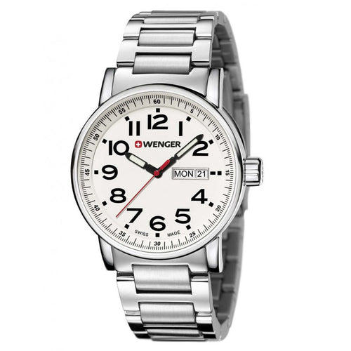 Wenger 01.0341.102 Men's Attitude White Dial Steel Bracelet Watch