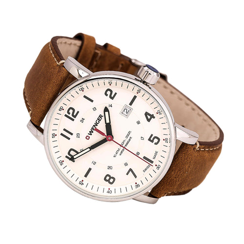 Wenger 01.0341.109 Men's Attitude Cream Dial Brown Leather Strap Watch