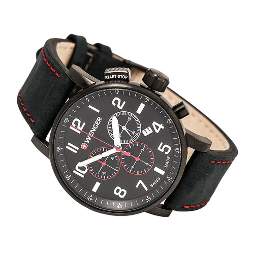 Wenger 01.0343.104 Men's Attitude Black Dial Black IP Steel Black Leather Strap Chronograph Watch