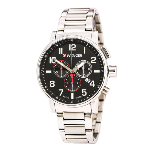 Wenger 01.0343.105 Men's Attitude Black Dial Stainless Steel Bracelet Chronograph Watch