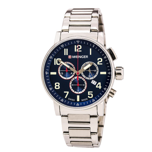 Wenger 01.0343.106 Men's Attitude Blue Dial Stainless Steel Bracelet Chronograph Watch