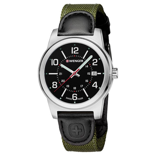 Wenger 01.0441.163 Men's Field Classic Black Dial Black Leather & Green Nylon Strap Watch
