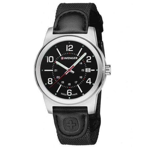 Wenger 01.0441.164 Men's Field Classic Black Dial Black Canvas & Leather Strap Watch