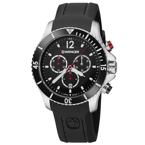 Wenger 01.0643.108 Men's Seaforce Black Dial Black Silicone Strap Chronograph Dive Watch