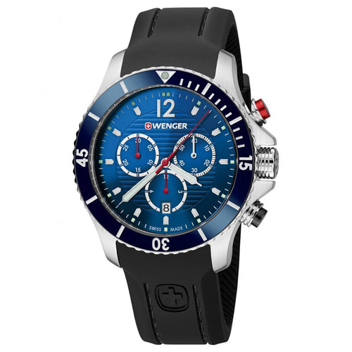 Wenger 01.0643.110 Men's Seaforce Blue Dial Black Silicone Strap Chronograph Dive Watch