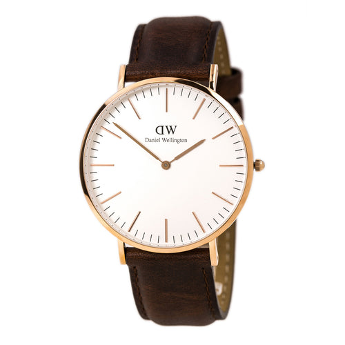 Daniel Wellington 0106DW Men's Classic St. Mawes White Dial Rose Gold Steel Brown Leather Strap Watch