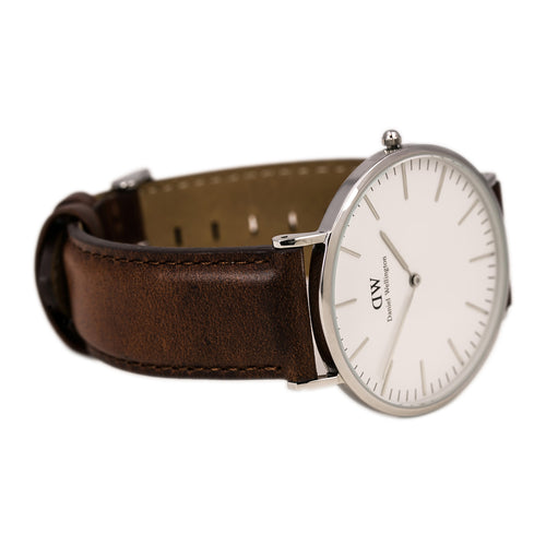Daniel Wellington 0207DW Men's Classic St. Andrews White Dial Brown Leather Strap Watch