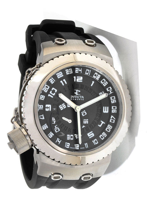 Invicta 0234 Men's Stainless Steel Reservce Swiss Quartz Black Dial Rubber Strap Watch