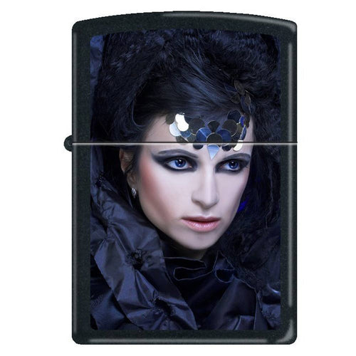 Zippo 0246 Classic Black Matte Gothic Lady in Black Windproof Pocket Lighter