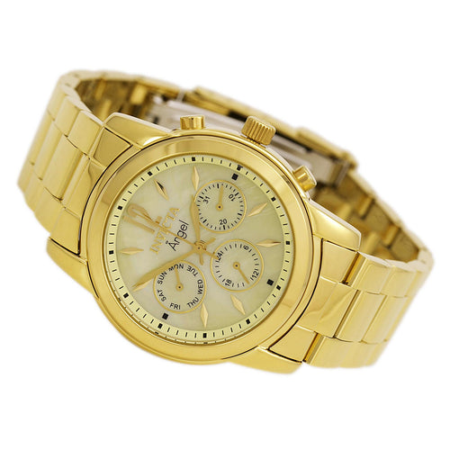 Invicta 0466 Women's Angel MOP Gold Tone Dial Gold Plated Steel Bracelet Watch