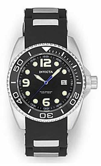 Invicta 0492 Black Dial Stainless Steel Watch