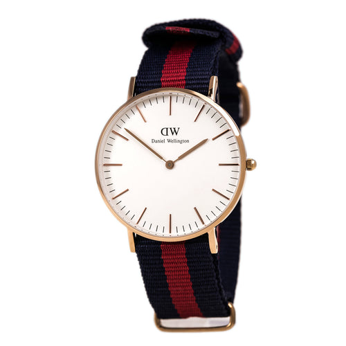 Daniel Wellington 0501DW Women's Classic Oxford White Dial Rose Gold Steel Blue & Red Nylon Strap Watch