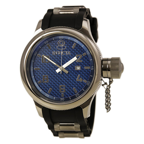 Invicta 0554 Men's Russian Diver Gun Metal IP Blue Dial Rubber Strap Watch