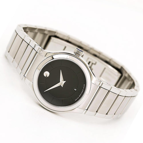 Movado 0606493 Women's Quadro Black Dial Stainless Steel Bracelet Watch