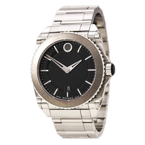 Movado 606550 Men's Master Quartz Black Dial Steel Bracelet Dive Watch