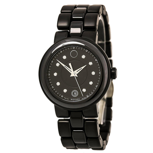 Movado 0606693 Women's Cerena Black Diamond Dial Black Steel & Ceramic Bracelet Watch
