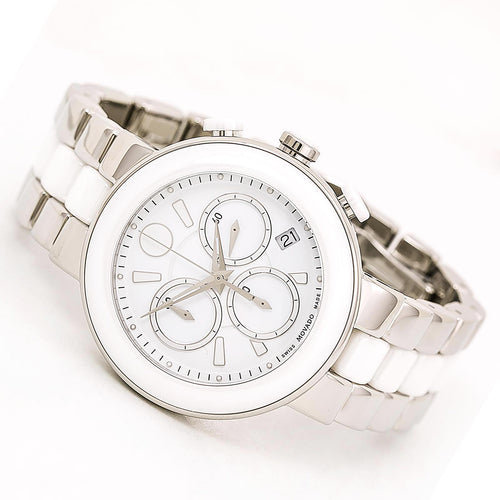 Movado 0606758 Women's Cerena White Dial Steel & White Ceramic Bracelet Chronograph Watch