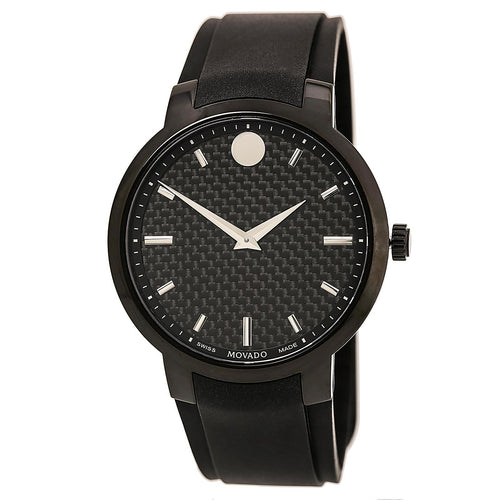 Movado 0606849 Men's Gravity Black Carbon Fiber Dial Black Rubber Strap Watch