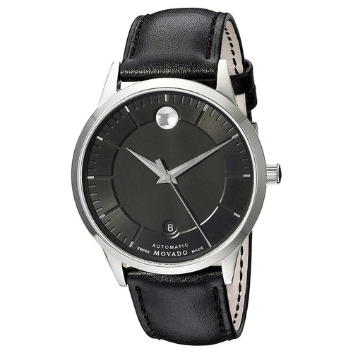 Movado 0606873 Men's 1881 Automatic Black Dial Black Leather Strap Watch