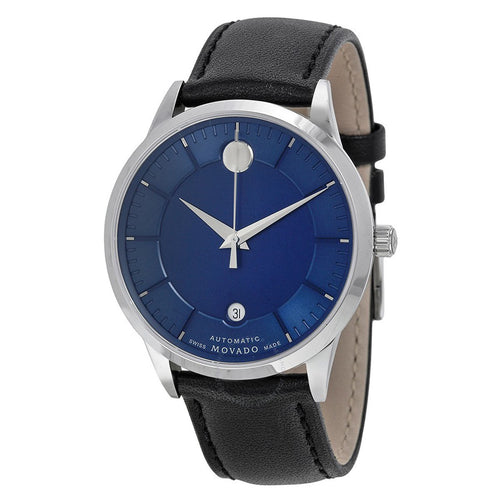 Movado 0606874 Men's 1881 Automatic Blue Dial Black Leather Strap Watch