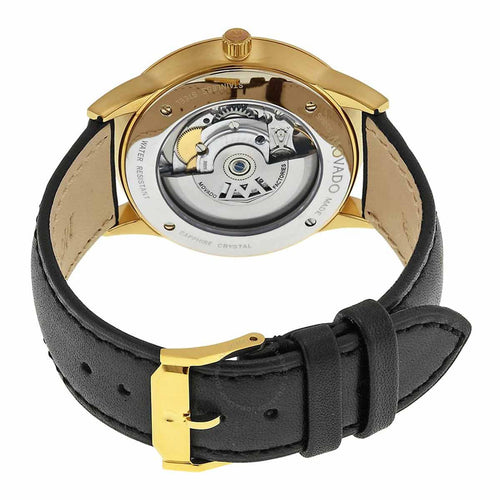 Movado 0606875 Men's 1881 Automatic Black Dial Yellow Gold Steel Black Leather Strap Watch