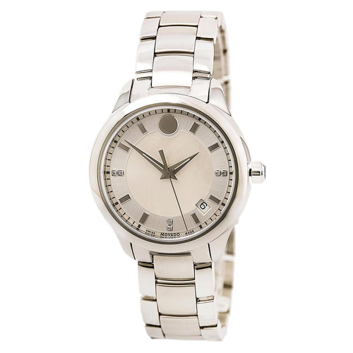 Movado 0606978 Women's Bellina White MOP Dial Stainless Steel Bracelet Diamond Watch