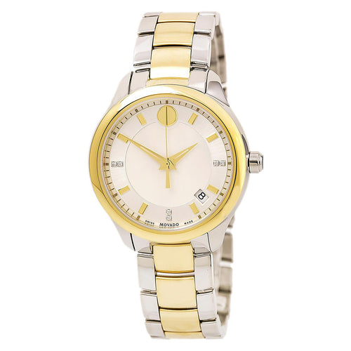Movado 0606979 Women's Bellina White MOP Dial Two Tone Steel Bracelet Diamond Watch