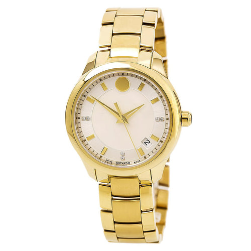 Movado 0606980 Women's Bellina White MOP Dial Yellow Gold Steel Bracelet Diamond Watch