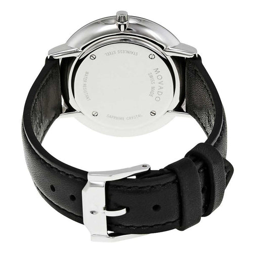 Movado 0607090 Women's Ultra Slim Black Dial Black Leather Strap Watch