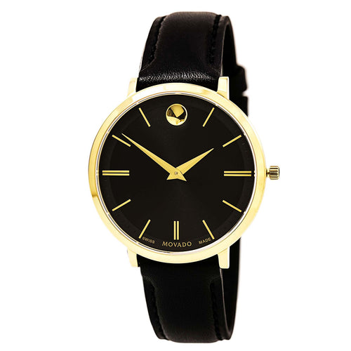 Movado 0607091 Women's Ultra Slim Black Dial Yellow Gold Steel Black Leather Strap Watch