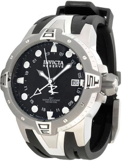 Invicta 0651 Reserve Collection Sea Excursion GMT Black Dial Polyurethane Watch