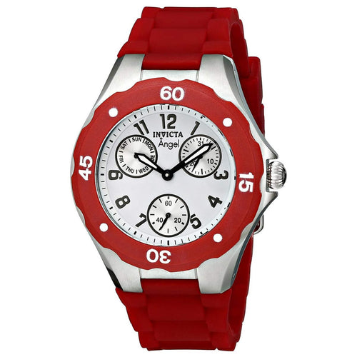 Invicta 0701 Women's Angel White Dial Red Silicone Strap Quartz Multifunction Watch