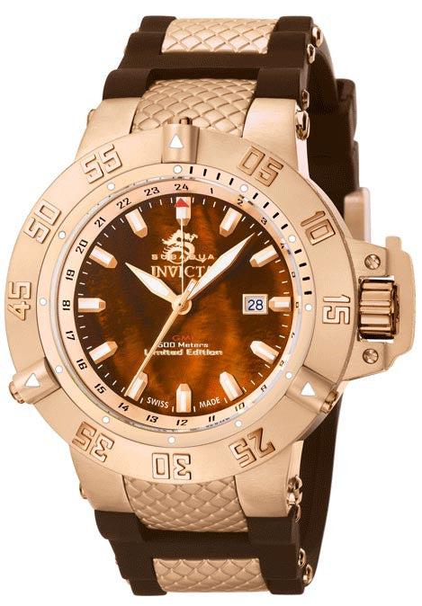 Invicta 0739 Subaqua Noma III Collection  GMT Brown Dial Polyurethane Watch