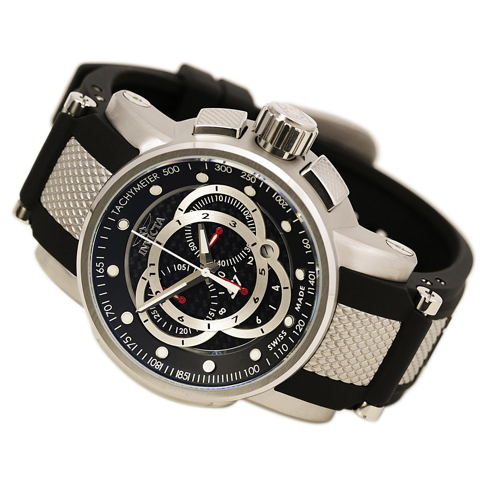 Invicta 0893 Men's S1 Touring Sport Chronograph Black Dial Rubber Strap Watch
