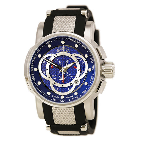 Invicta 10594 Men's Reserve Speedway Blue Dial Black IP Steel Bracelet Chronograph Watch