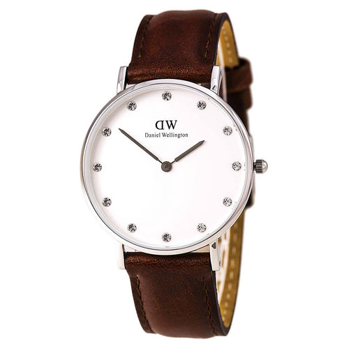 Daniel Wellington 0960DW Women's Classy St Andrews White Dial Brown Leather Strap Watch