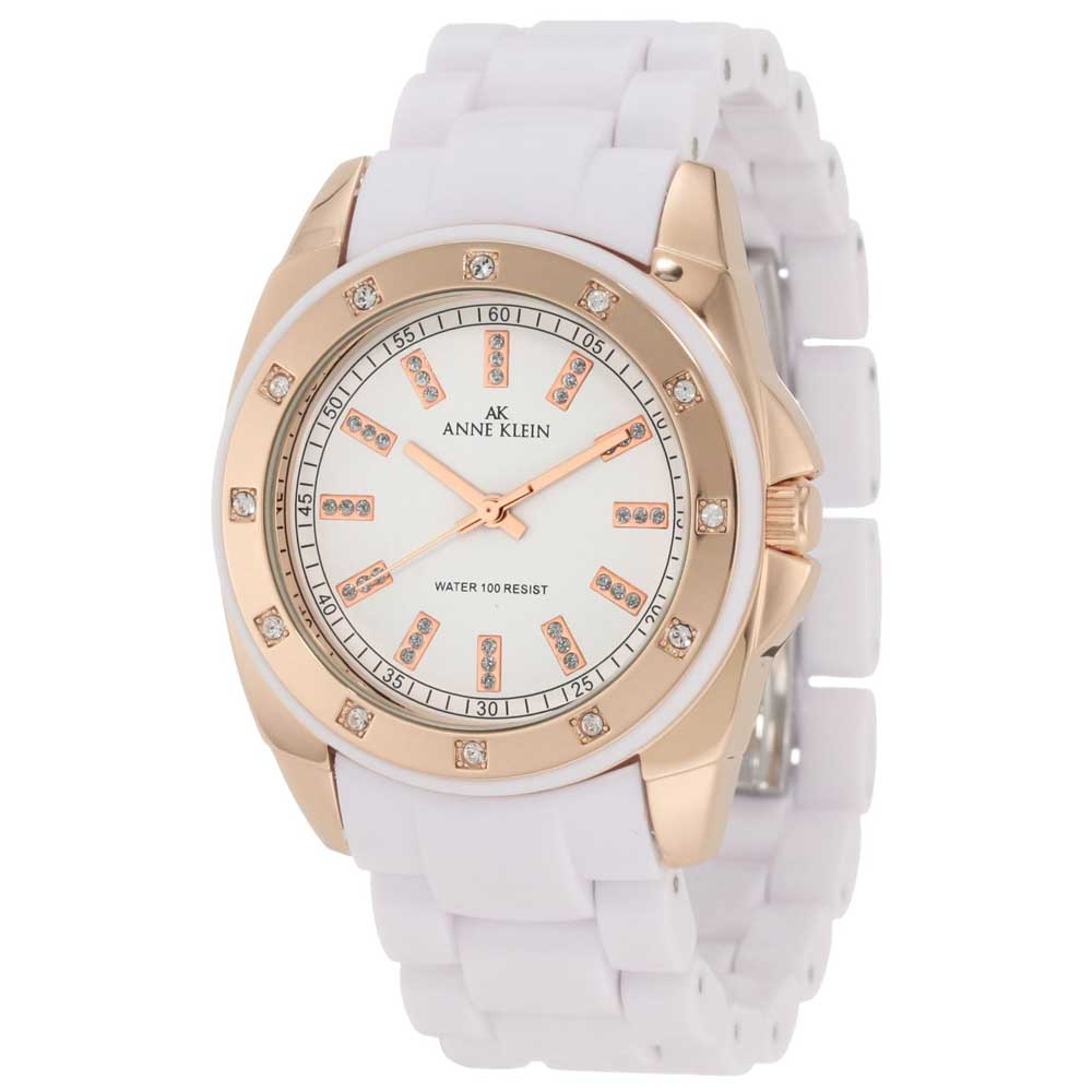 Anne Klein 10-9178RGWT Women's Swarovski Crystal Accents Rose Gold Tone White Dial Watch