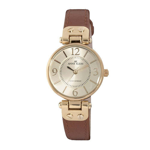Anne Klein 10-9442CHHY Women's Beige Dial Brown Leather Strap Rose Gold Tone Metal Watch