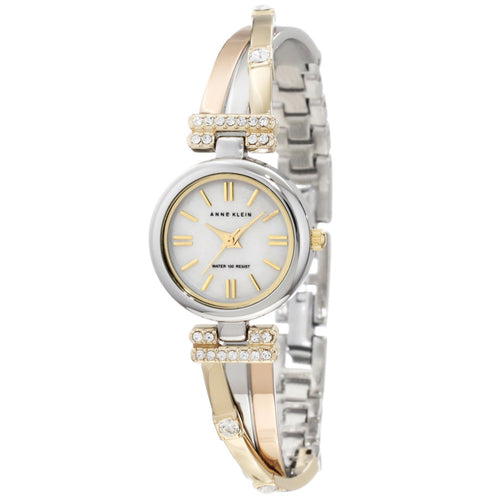 Anne Klein 10-9479MPTR Women's MOP Dial Tri-Tone Bangle Crystal Accents Bracelet Watch