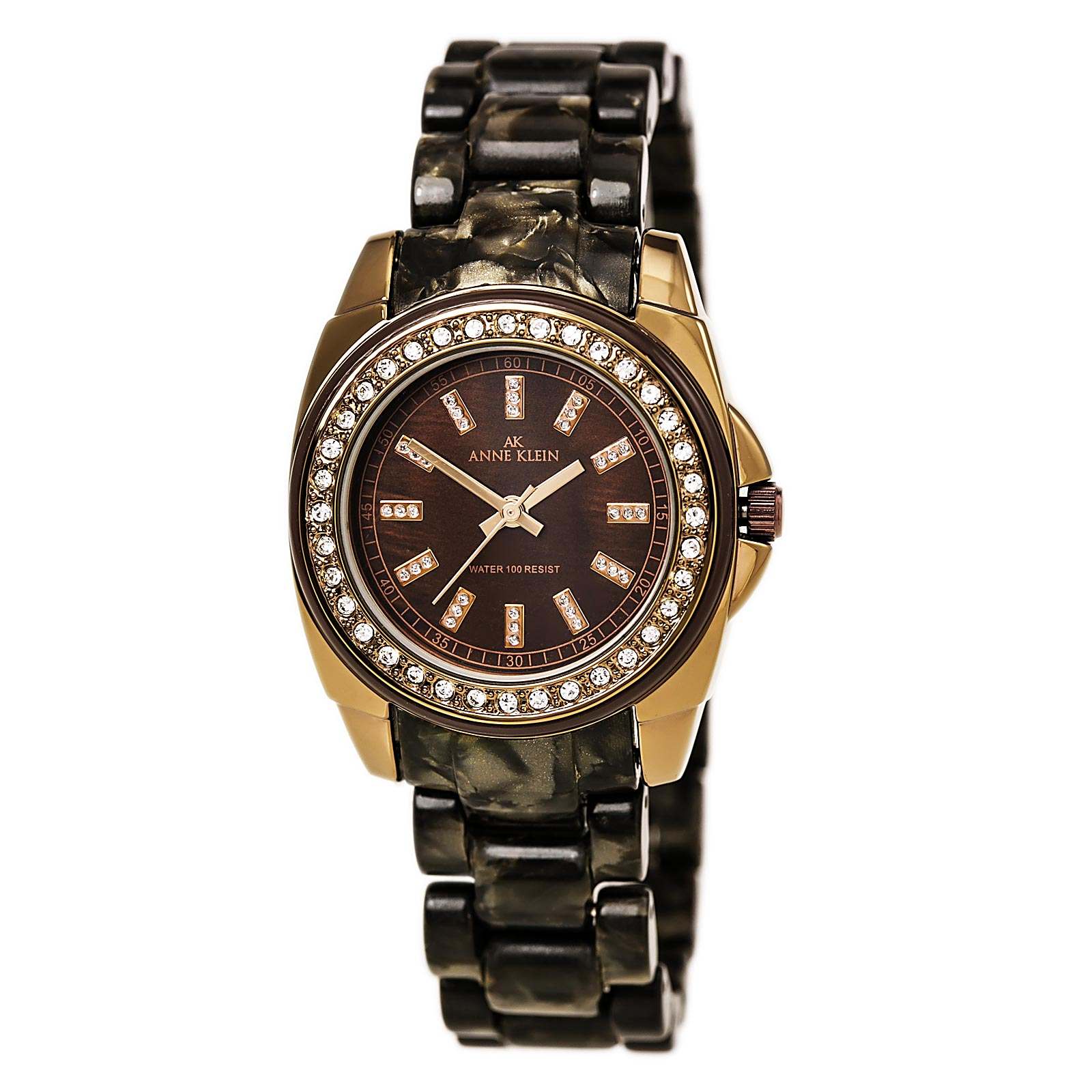 Anne Klein 10-9669BMBN Women's Black Resin Bracelet Rose Gold Tone Watch