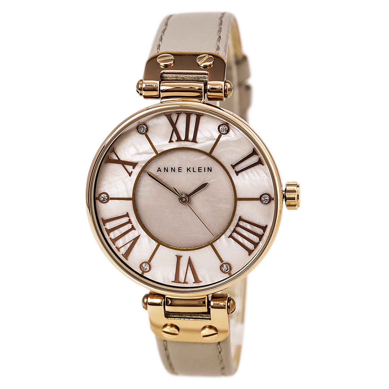 Anne Klein 10-9918RGTP Women's MOP Dial Rose Gold Steel Taupe Leather Strap Watch