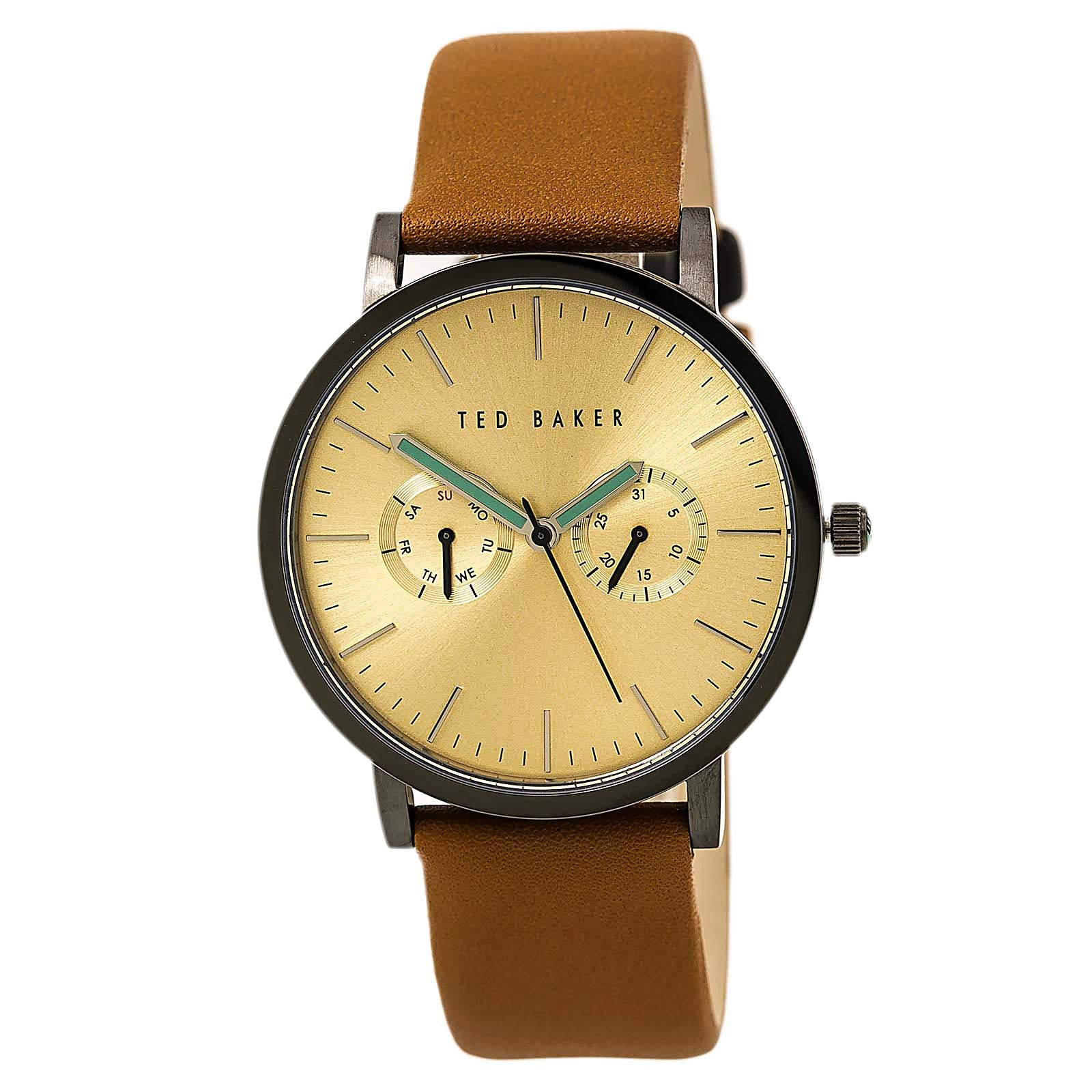 Ted Baker 10009249 Men's Jaknite Gold Tone Dial Brown Leather Strap Watch