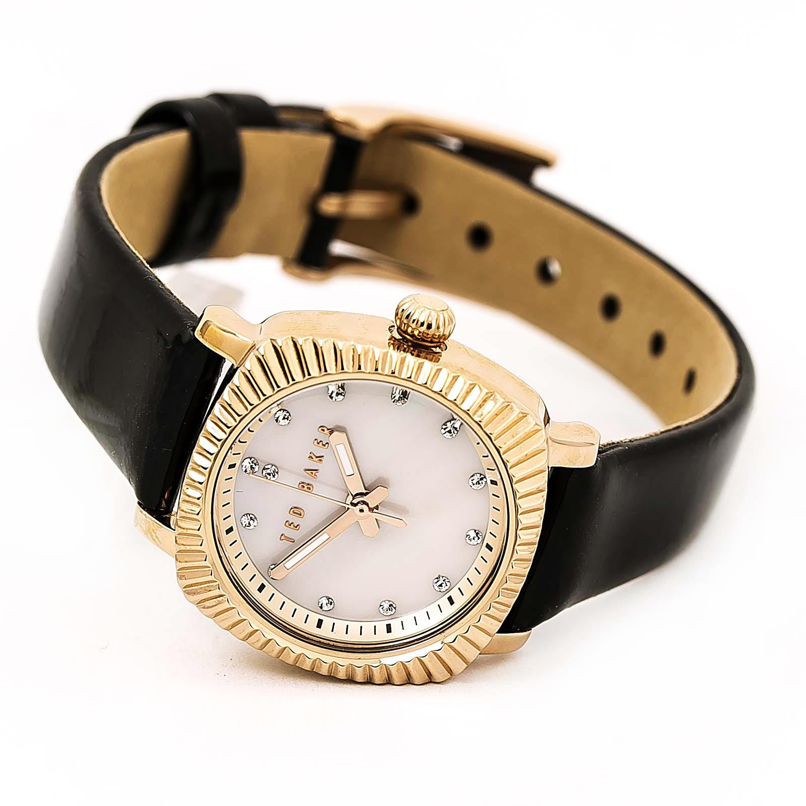 Ted Baker 10018709 Women's Mini Jewels White MOP Dial Black Leather Strap Crystal Watch
