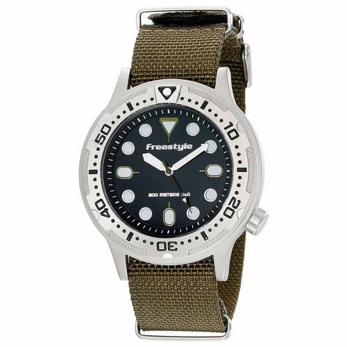 Freestyle 10019173 Unisex Ballistic Diver Black Dial Olive Green Nylon Strap Dive Watch