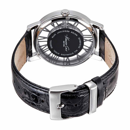 Kenneth Cole 10020809 Men's Transparency Grey Dial Black Leather Strap Quartz Watch